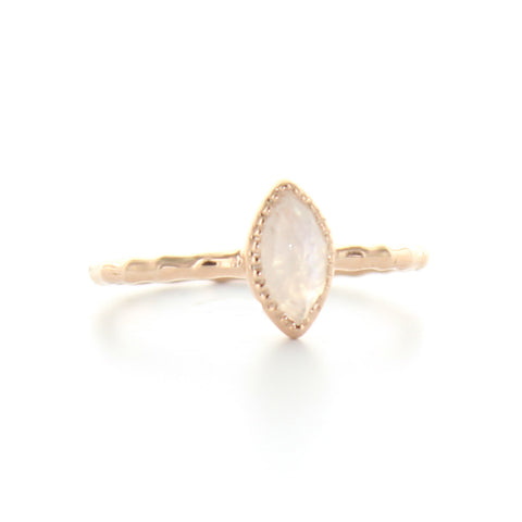 MINI TRUST MARQUISE RING - MOONSTONE  & ROSE GOLD