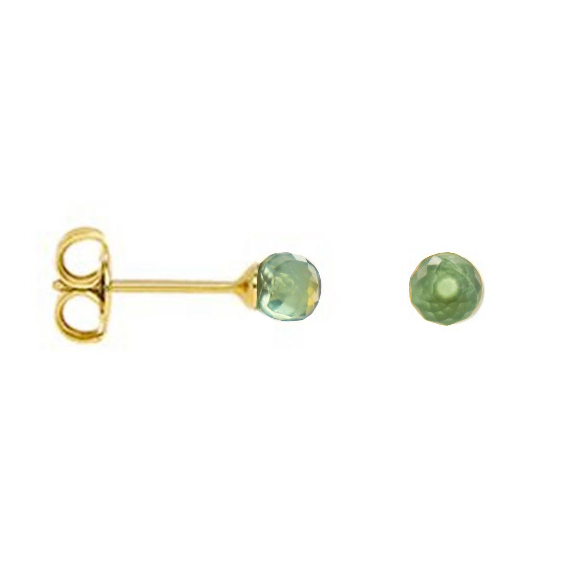 TINY PROTECT STUD EARRINGS - MINT PREHNITE & GOLD