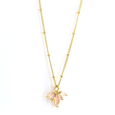 UNITY CROWN NECKLACE - PINK QUARTZ & GOLD