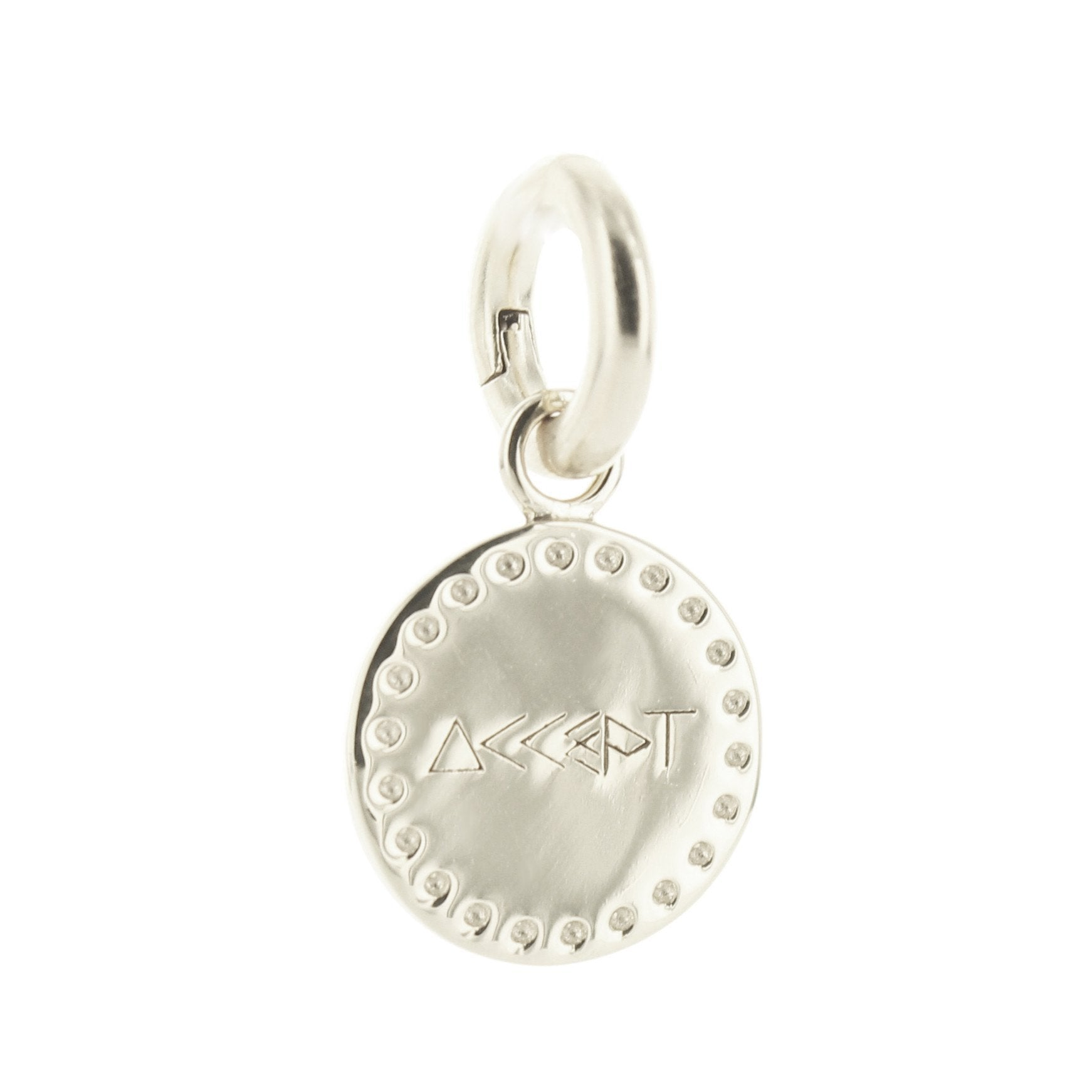 ACCEPT FLOATING CHARM PENDANT ALL METAL SILVER - SO PRETTY CARA COTTER