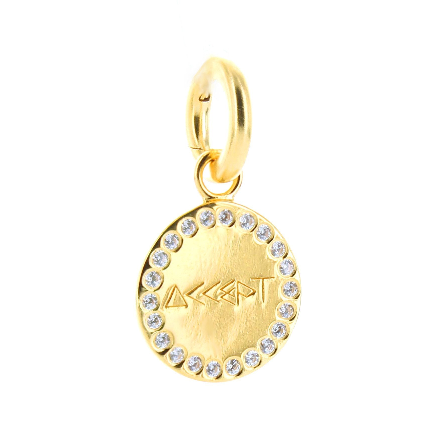 ACCEPT FLOATING CHARM PENDANT CUBIC ZIRCONIA & GOLD - SO PRETTY CARA COTTER