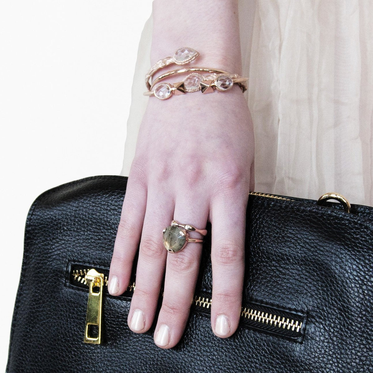 ADORE CUFF - ROCK CRYSTAL & ROSE GOLD - SO PRETTY CARA COTTER