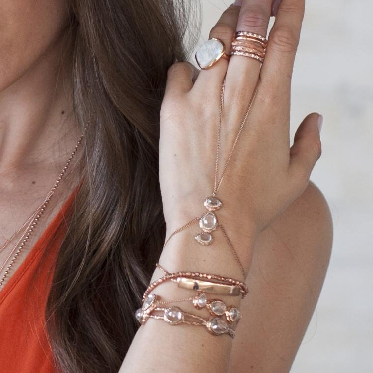 ADORE FINGER BRACELET - WHITE TOPAZ & ROSE GOLD - SO PRETTY CARA COTTER