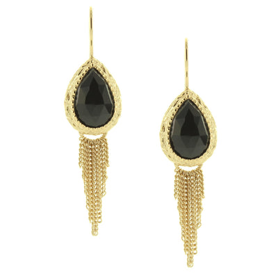 ADORE FRINGE EARRINGS - BLACK ONYX & GOLD - SO PRETTY CARA COTTER
