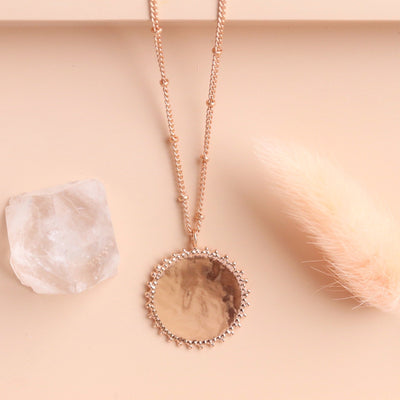 BELIEVE SOLEIL COIN PENDANT NECKLACE - ROSE GOLD - SO PRETTY CARA COTTER