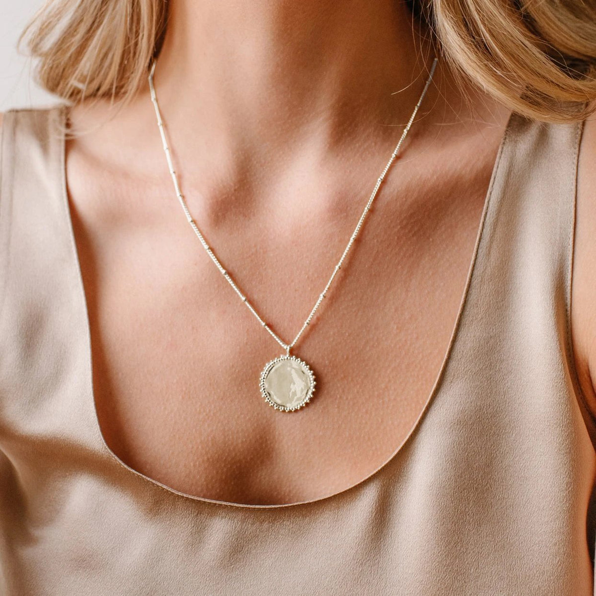 BELIEVE SOLEIL COIN PENDANT NECKLACE - SILVER - SO PRETTY CARA COTTER