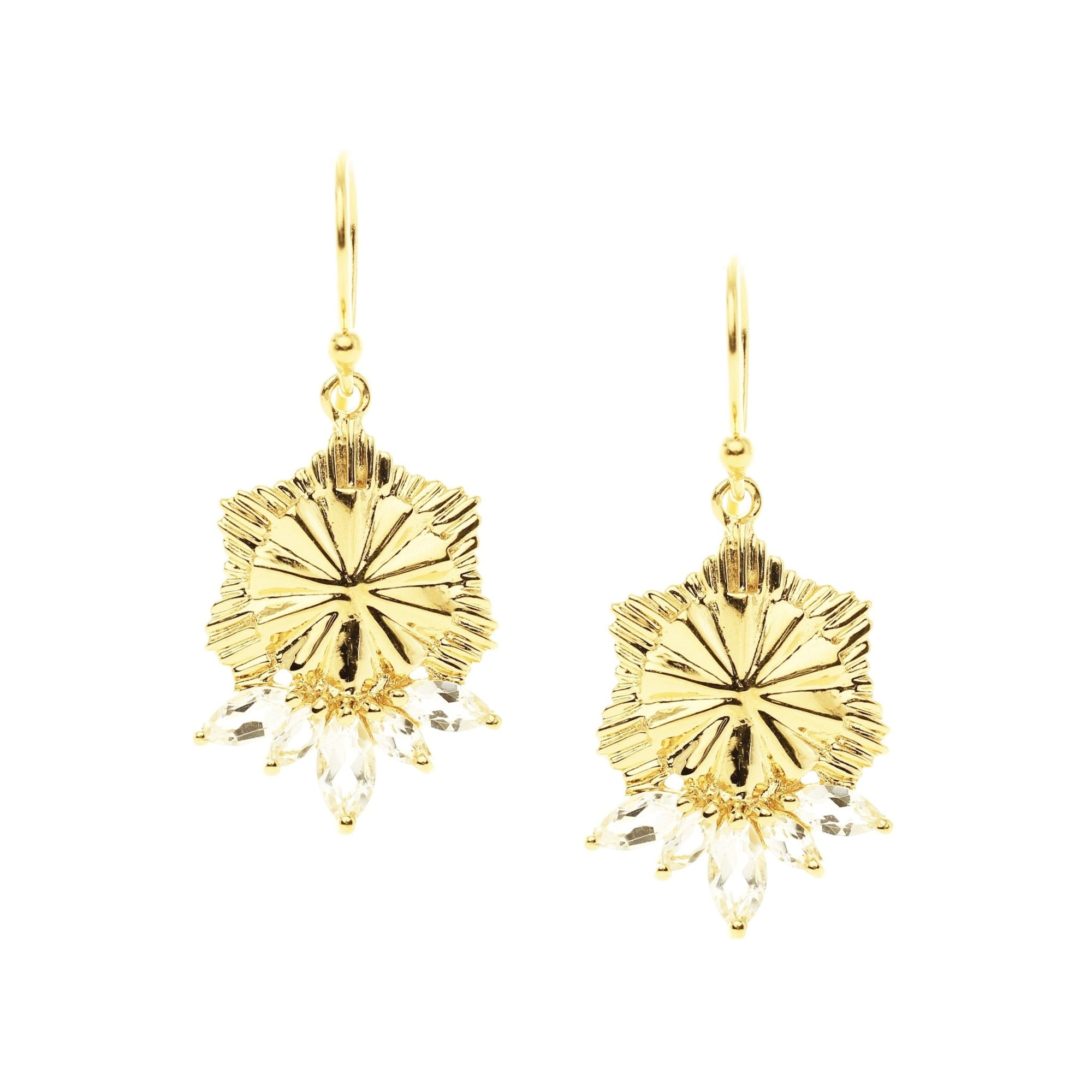 BELIEVE SOLEIL DROP EARRINGS - WHITE TOPAZ & GOLD - SO PRETTY CARA COTTER