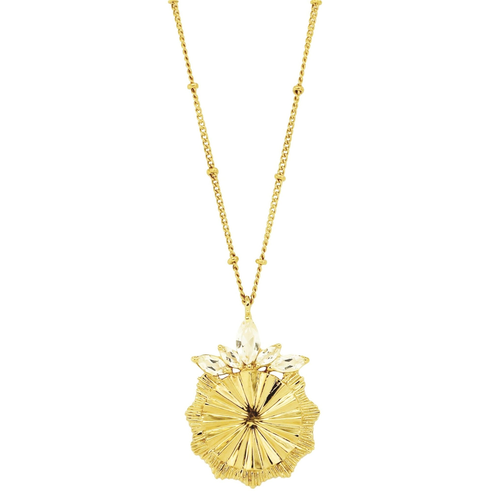 BELIEVE SOLEIL PENDANT NECKLACE - WHITE TOPAZ & GOLD - SO PRETTY CARA COTTER