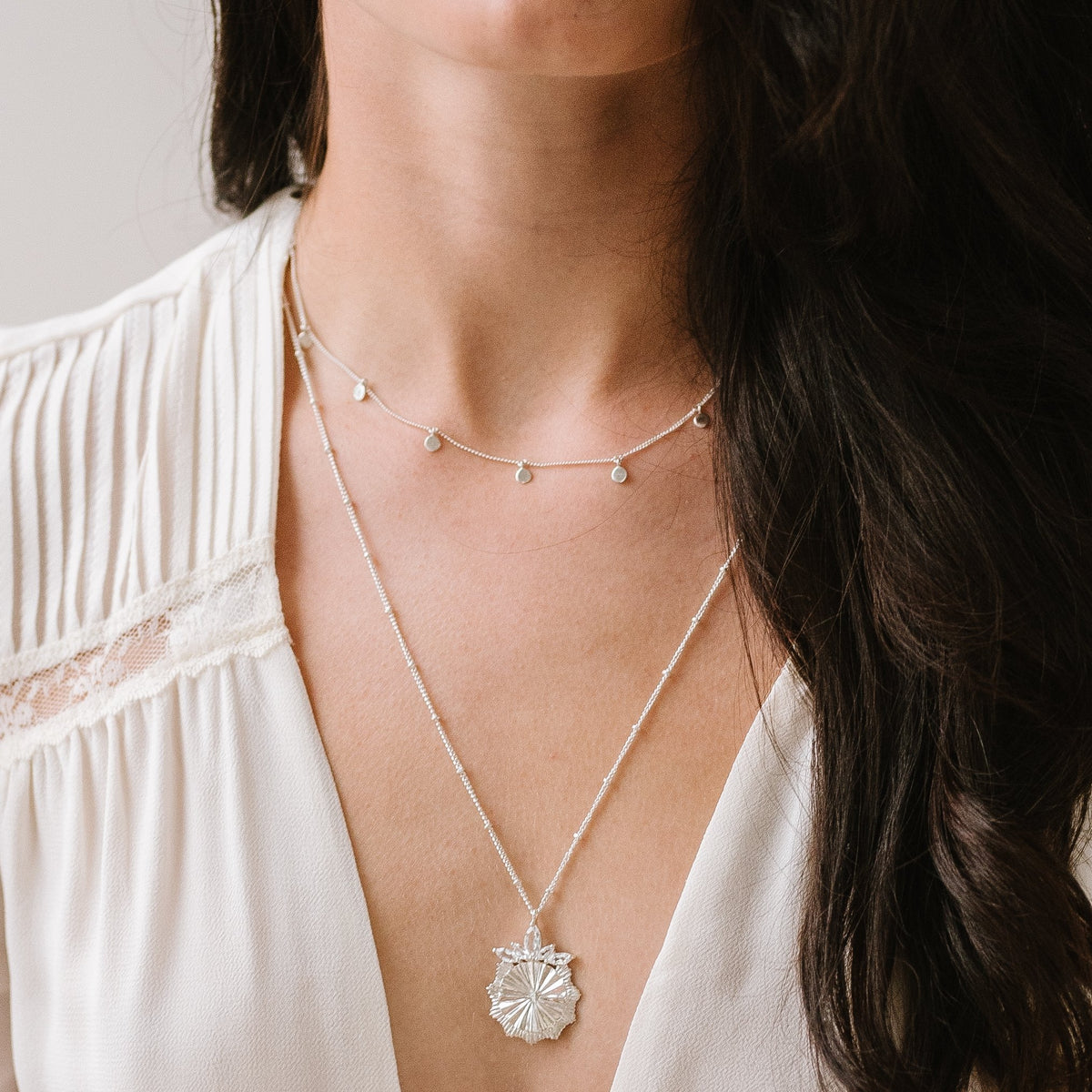 BELIEVE SOLEIL PENDANT NECKLACE - WHITE TOPAZ & SILVER - SO PRETTY CARA COTTER