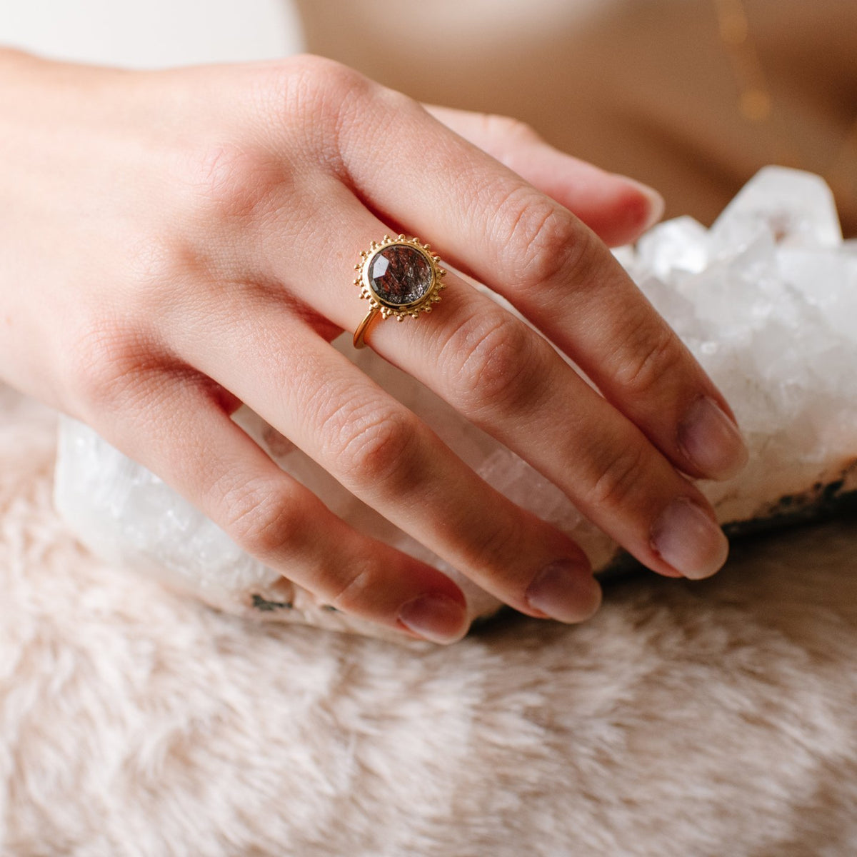 BELIEVE SOLEIL RING - BLACK RUTILATED QUARTZ & GOLD - SO PRETTY CARA COTTER