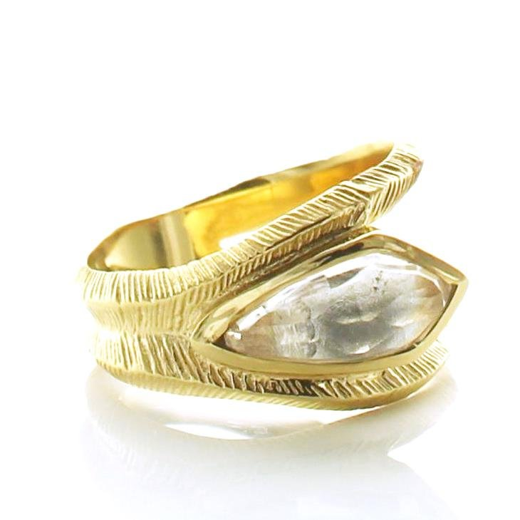 BRAVE DAGGER RING - WHITE TOPAZ & GOLD - SO PRETTY CARA COTTER