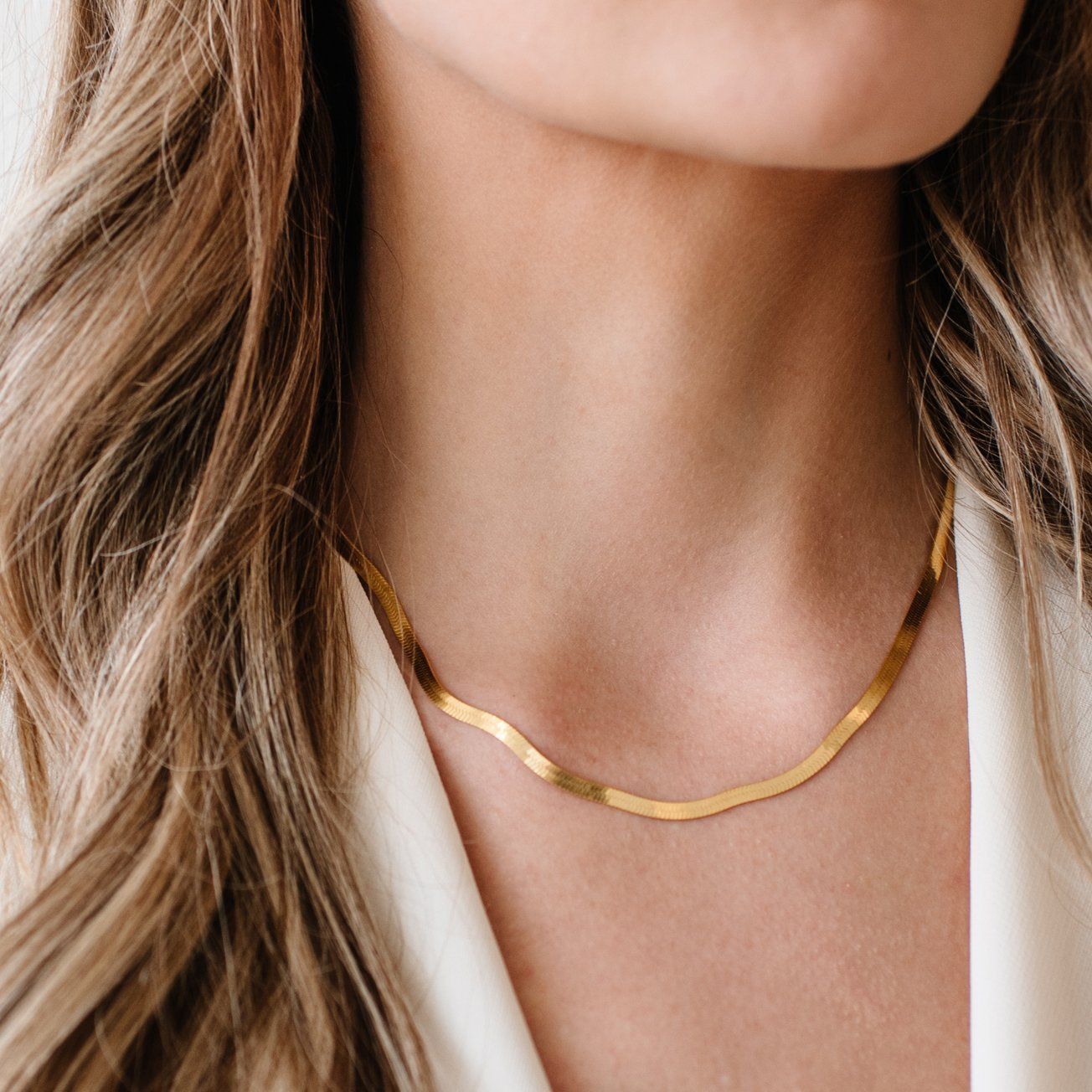 "CHARMING HERRINGBONE CHAIN 16.5 - 18"" NECKLACE GOLD - SO PRETTY CARA COTTER"