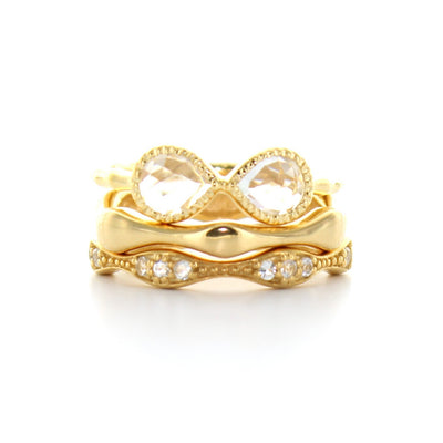 COMPASSION BAND RING - WHITE TOPAZ & GOLD - SO PRETTY CARA COTTER