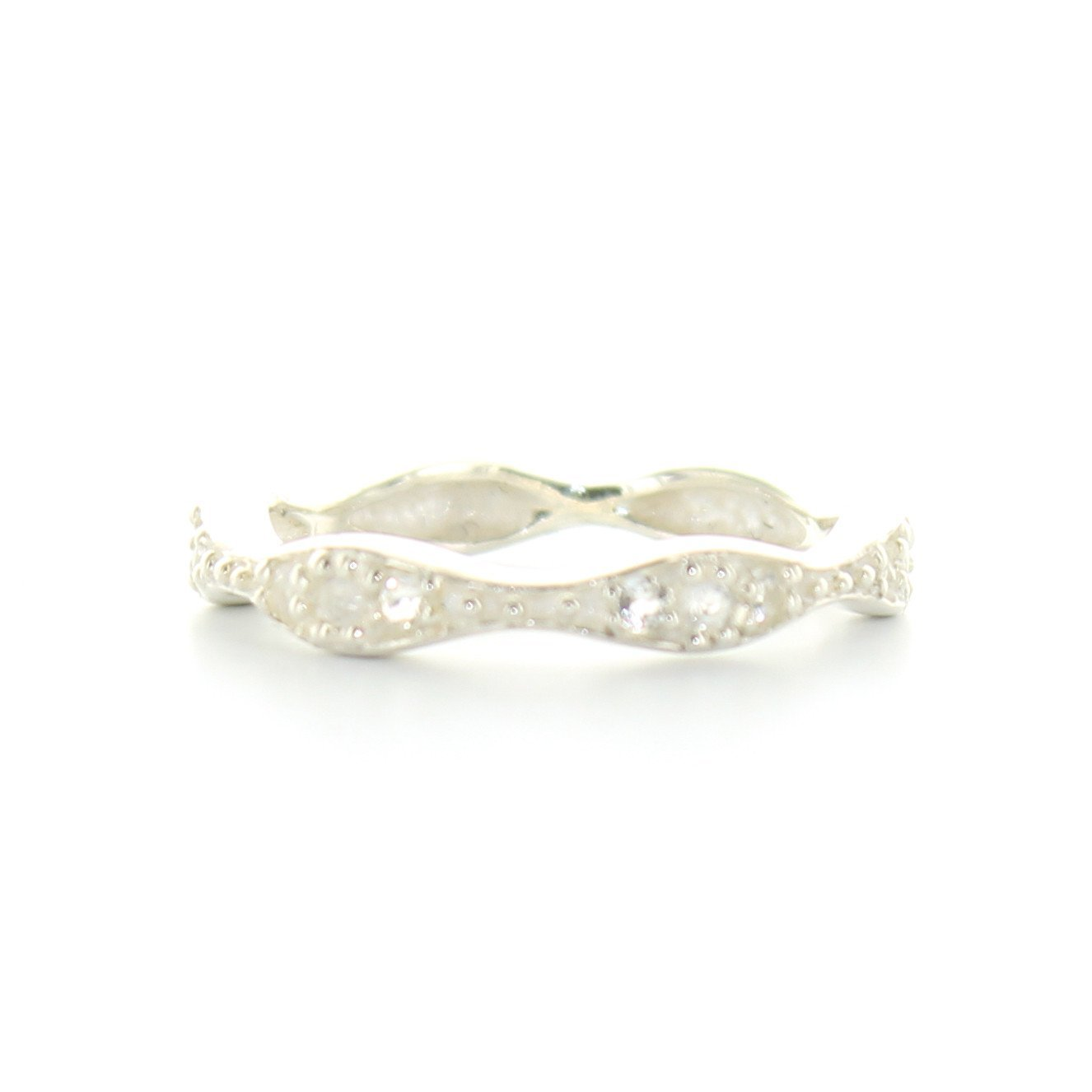 COMPASSION BAND RING - WHITE TOPAZ & SILVER - SO PRETTY CARA COTTER