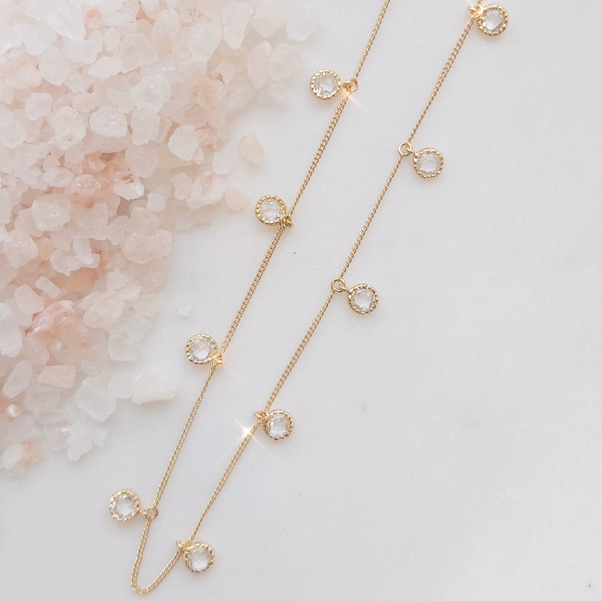 DAINTY LEGACY COLLAR NECKLACE - WHITE TOPAZ & GOLD - SO PRETTY CARA COTTER
