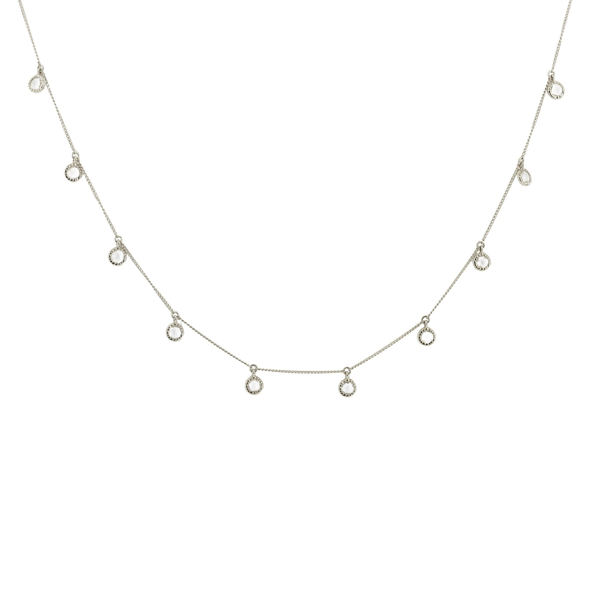 DAINTY LEGACY COLLAR NECKLACE - WHITE TOPAZ & SILVER - SO PRETTY CARA COTTER