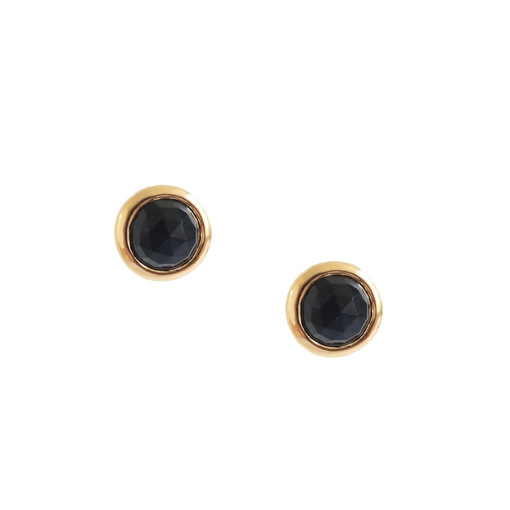 DAINTY LEGACY STUDS - BLACK ONYX & GOLD - SO PRETTY CARA COTTER