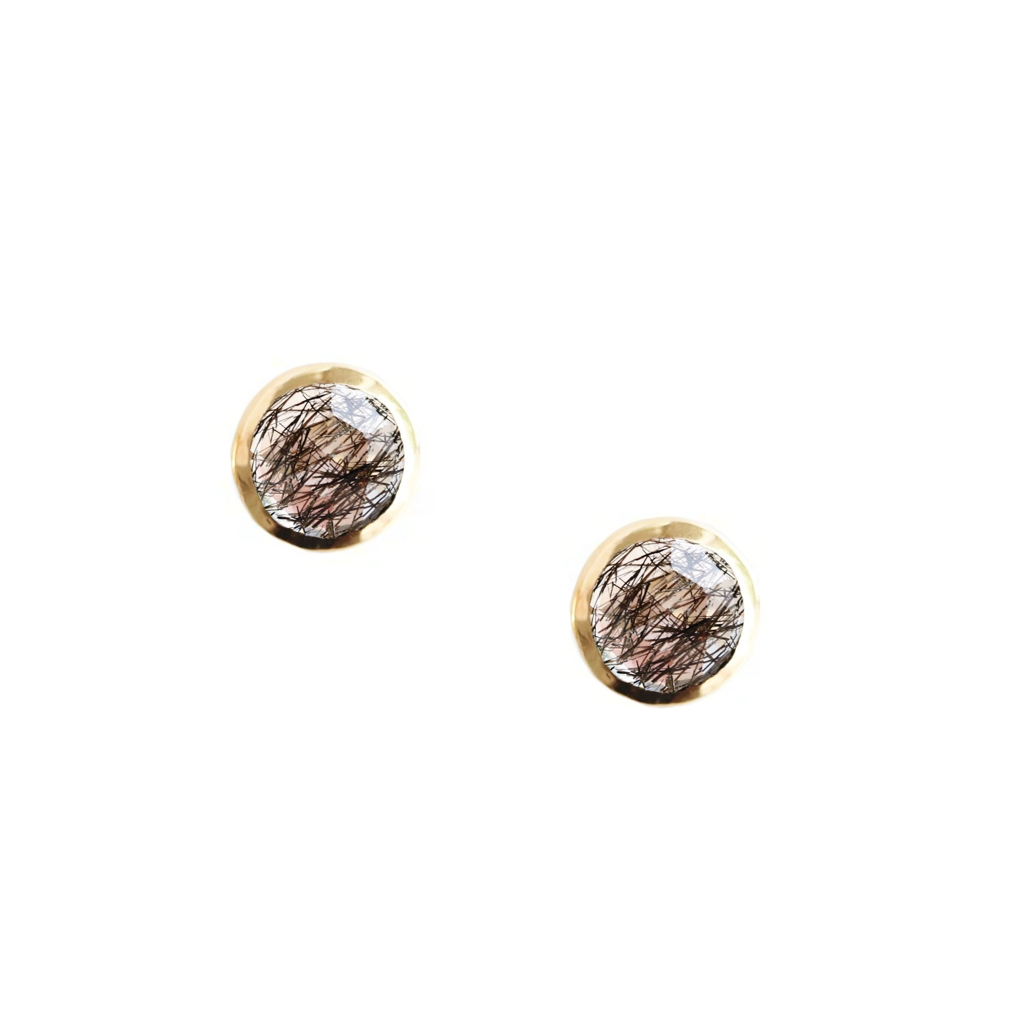 DAINTY LEGACY STUDS - BLACK RUTILATED QUARTZ & GOLD- PREORDER - SO PRETTY CARA COTTER