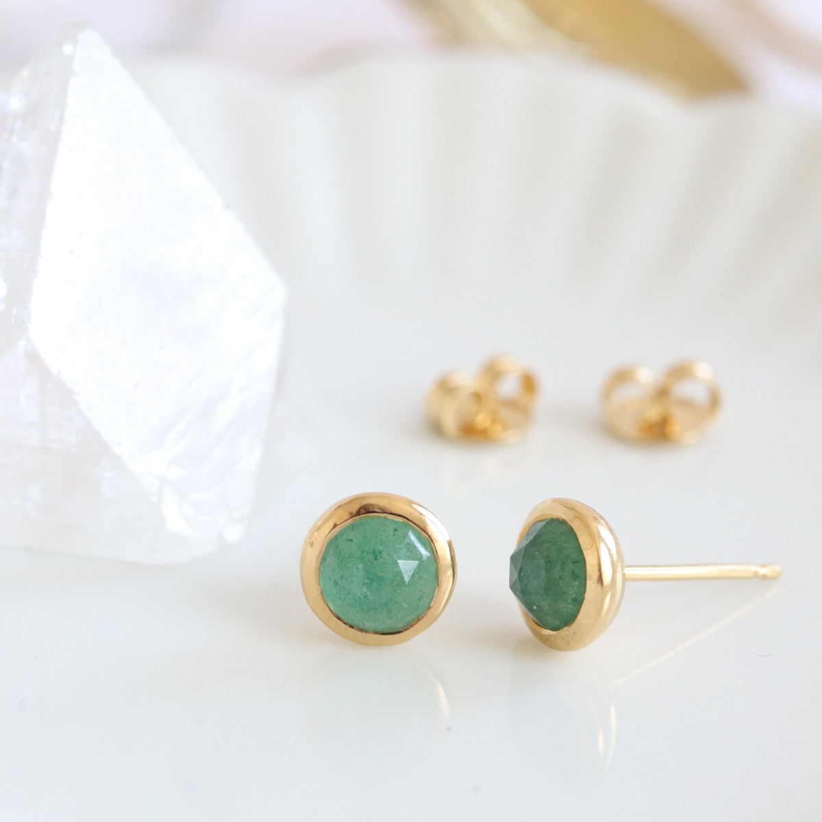 DAINTY LEGACY STUDS - GREEN QUARTZ & GOLD - SO PRETTY CARA COTTER