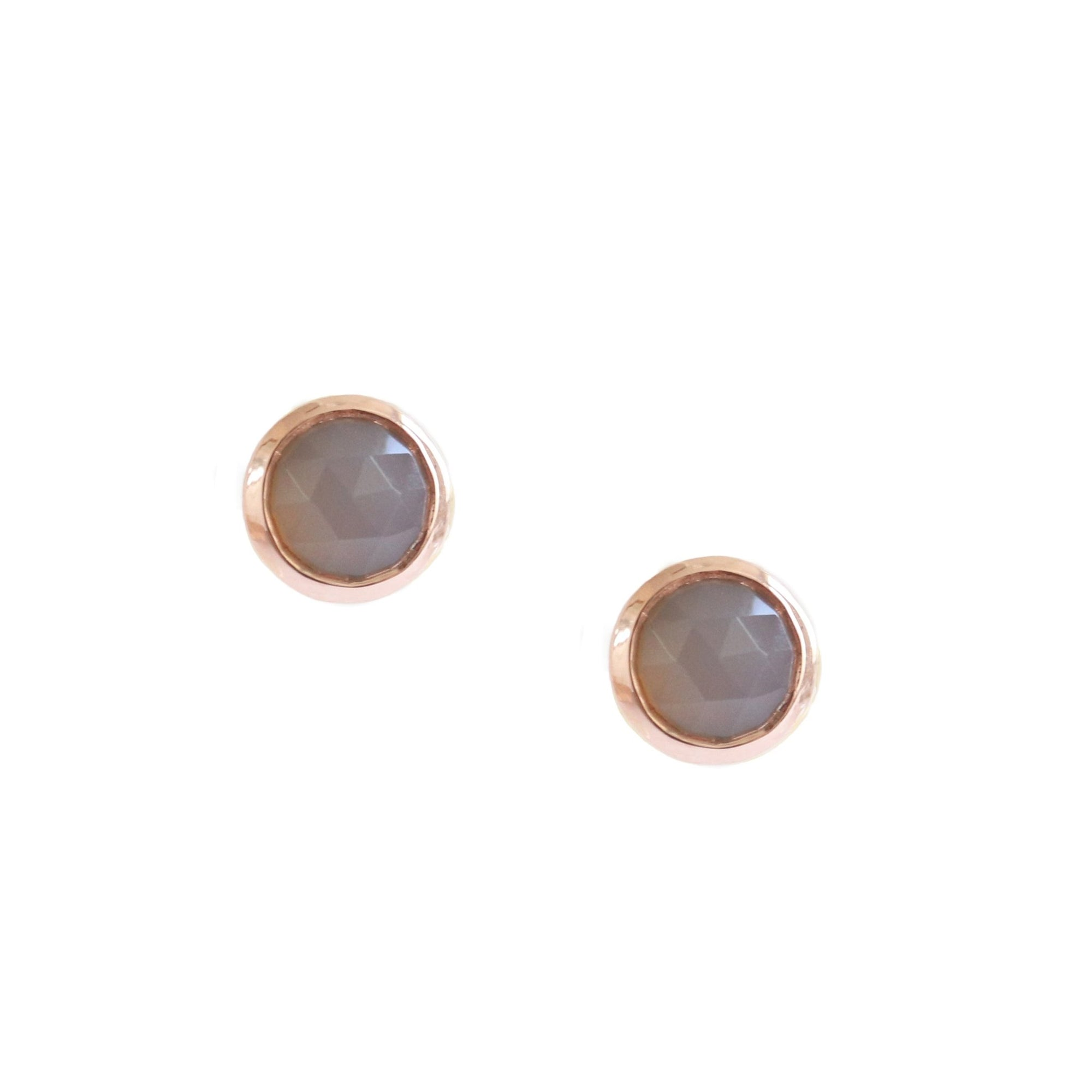 DAINTY LEGACY STUDS - GREY MOONSTONE & ROSE GOLD - SO PRETTY CARA COTTER