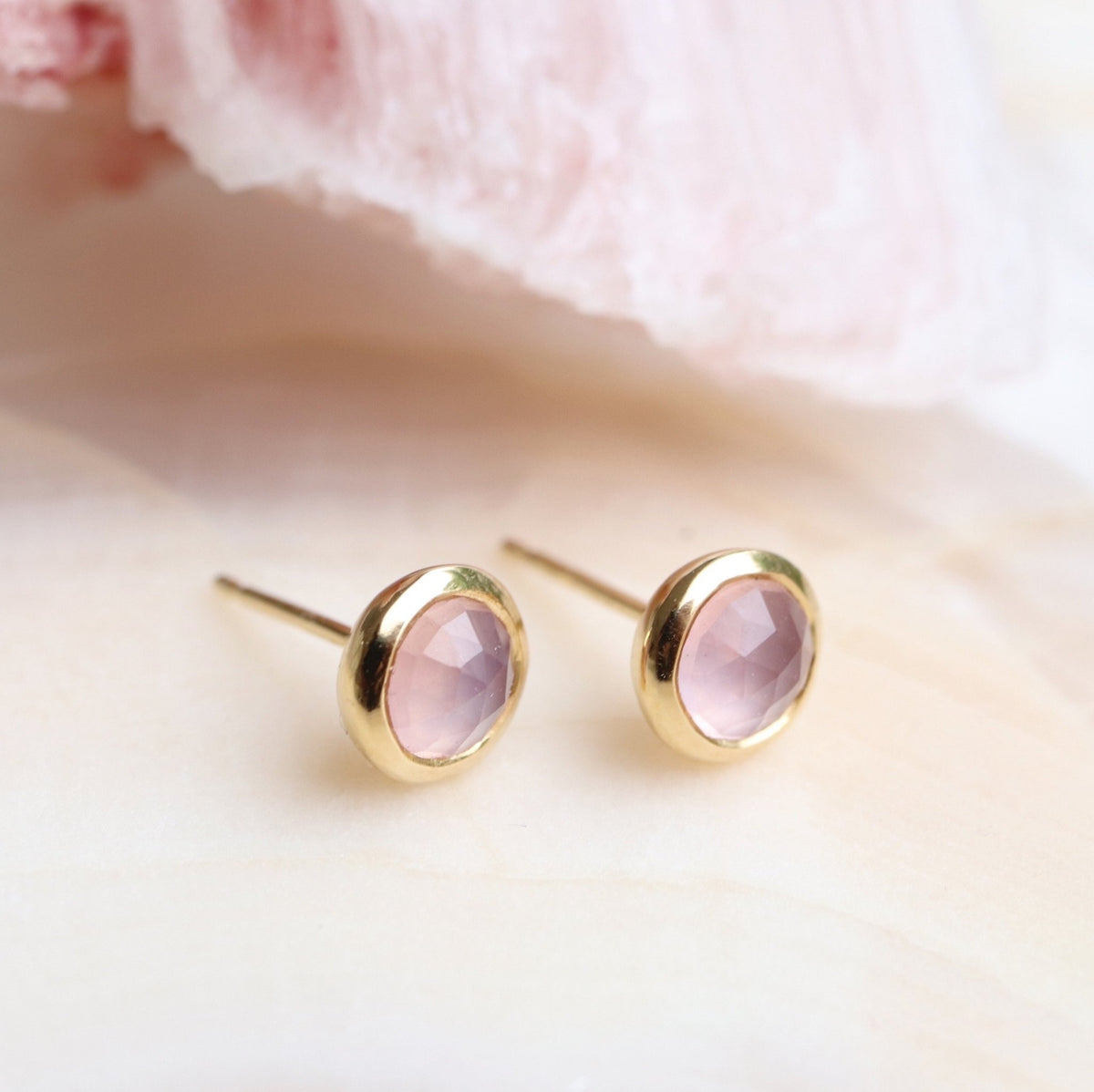 DAINTY LEGACY STUDS - PINK QUARTZ & GOLD - SO PRETTY CARA COTTER