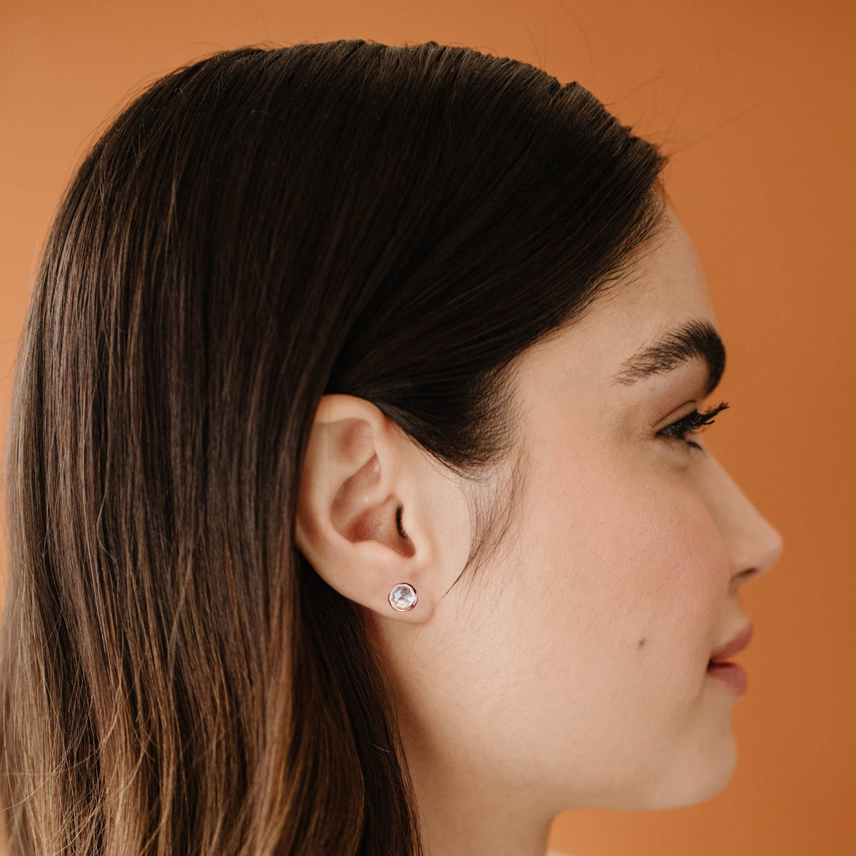 DAINTY LEGACY STUDS - WHITE TOPAZ & ROSE GOLD - SO PRETTY CARA COTTER