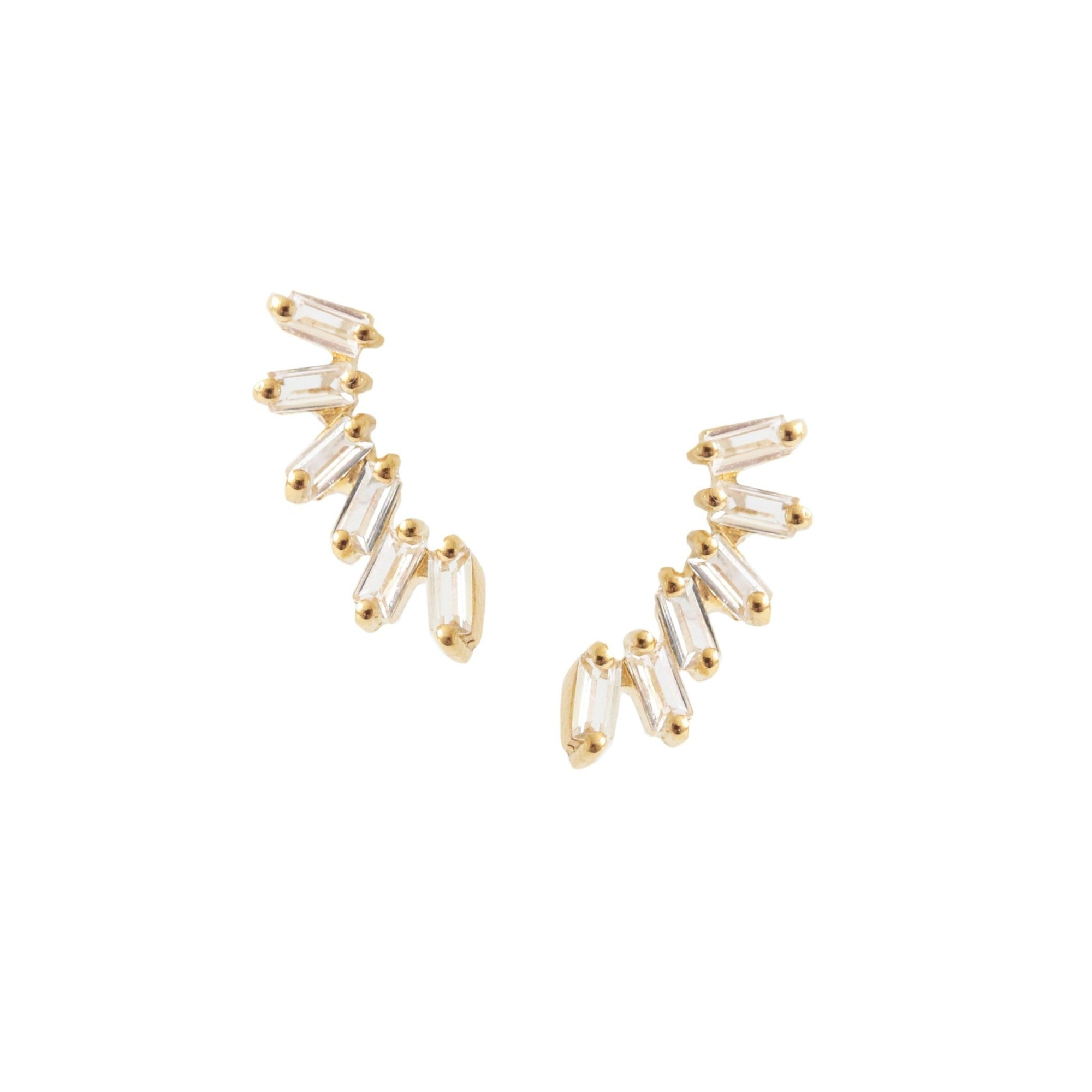 Dainty Loyal Ear Climbers - White Topaz & Gold - SO PRETTY CARA COTTER