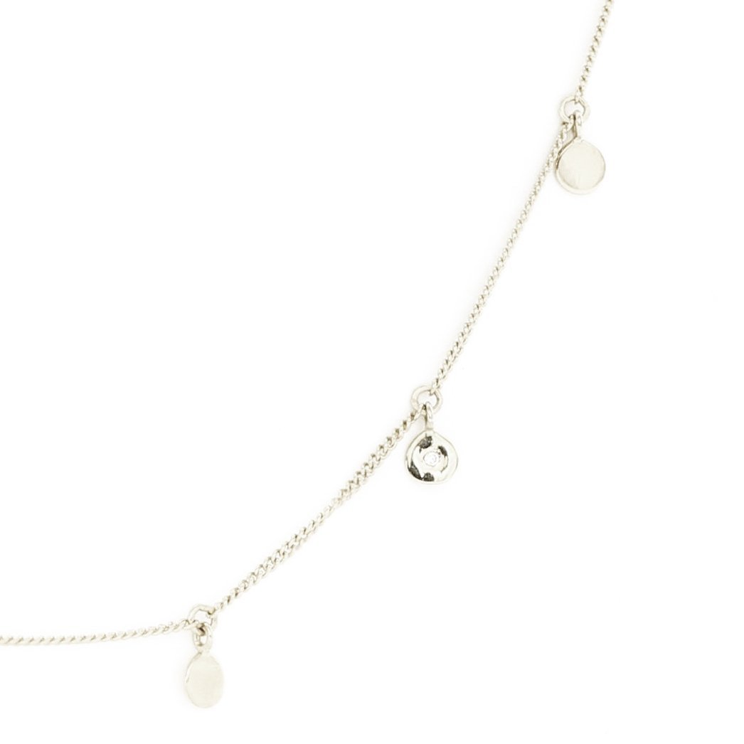 DAINTY POISE DISK NECKLACE - CUBIC ZIRCONIA & SILVER - SO PRETTY CARA COTTER
