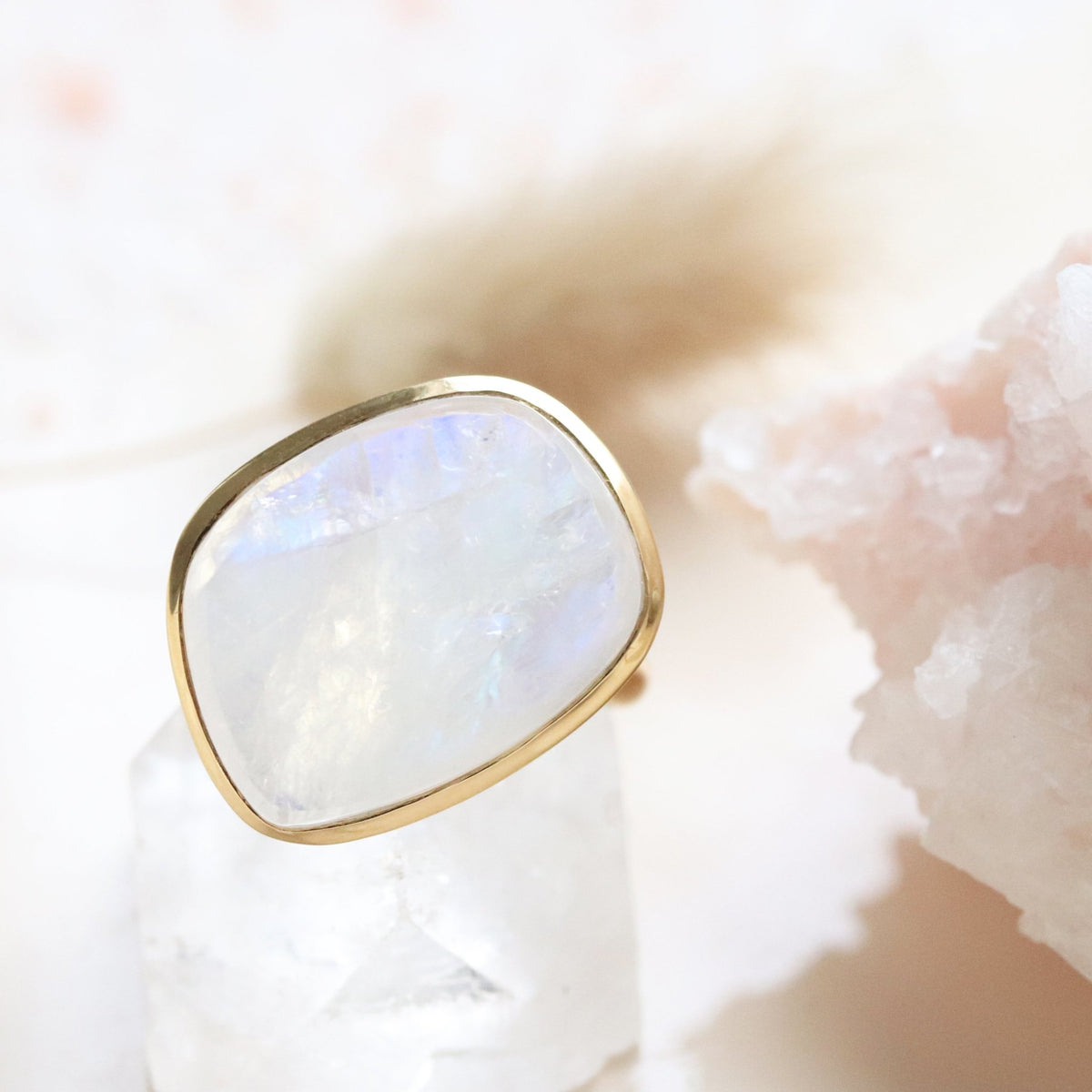 DARING RING - RAINBOW MOONSTONE & GOLD - SO PRETTY CARA COTTER