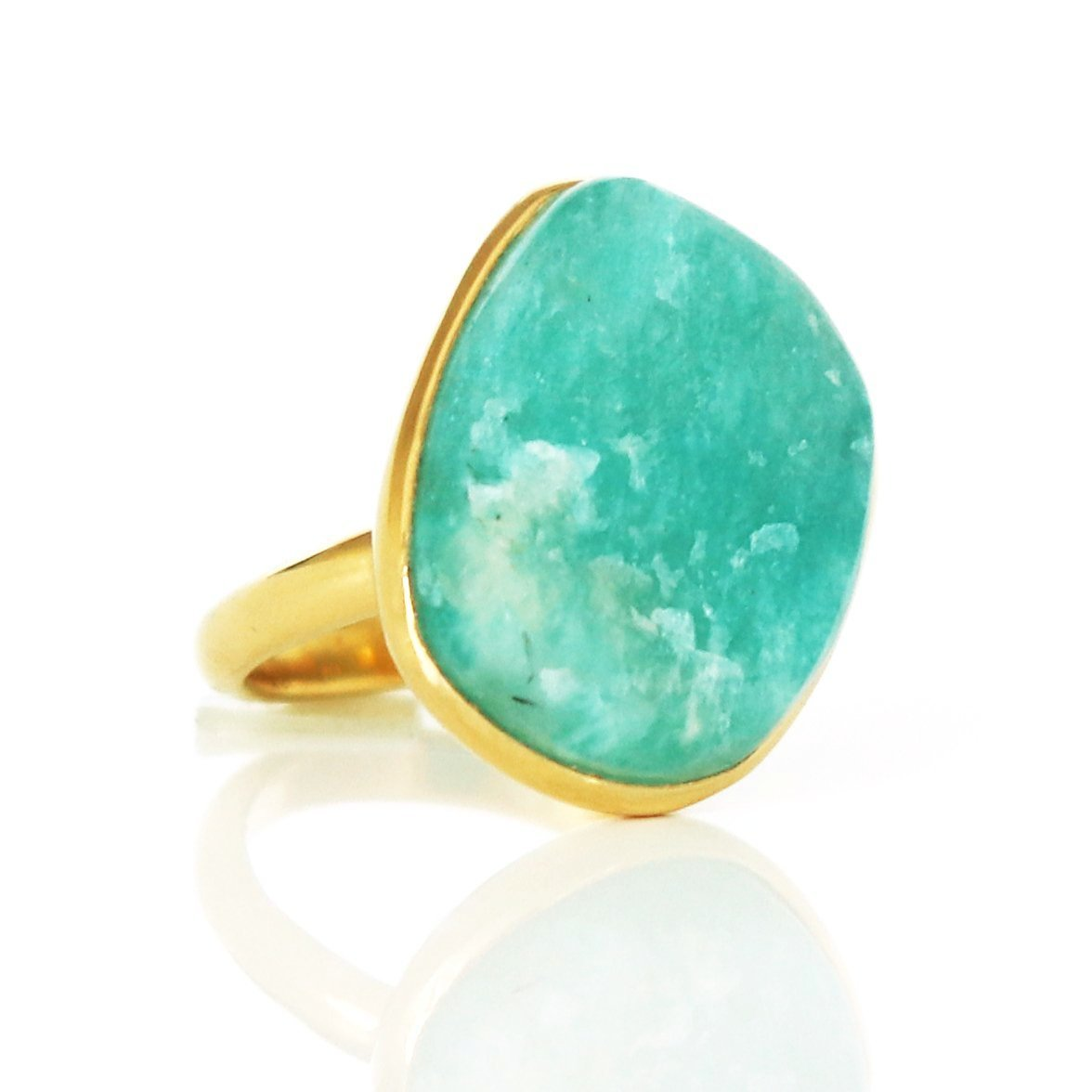 DARING RING - RAW AQUA AMAZONITE & GOLD - SO PRETTY CARA COTTER