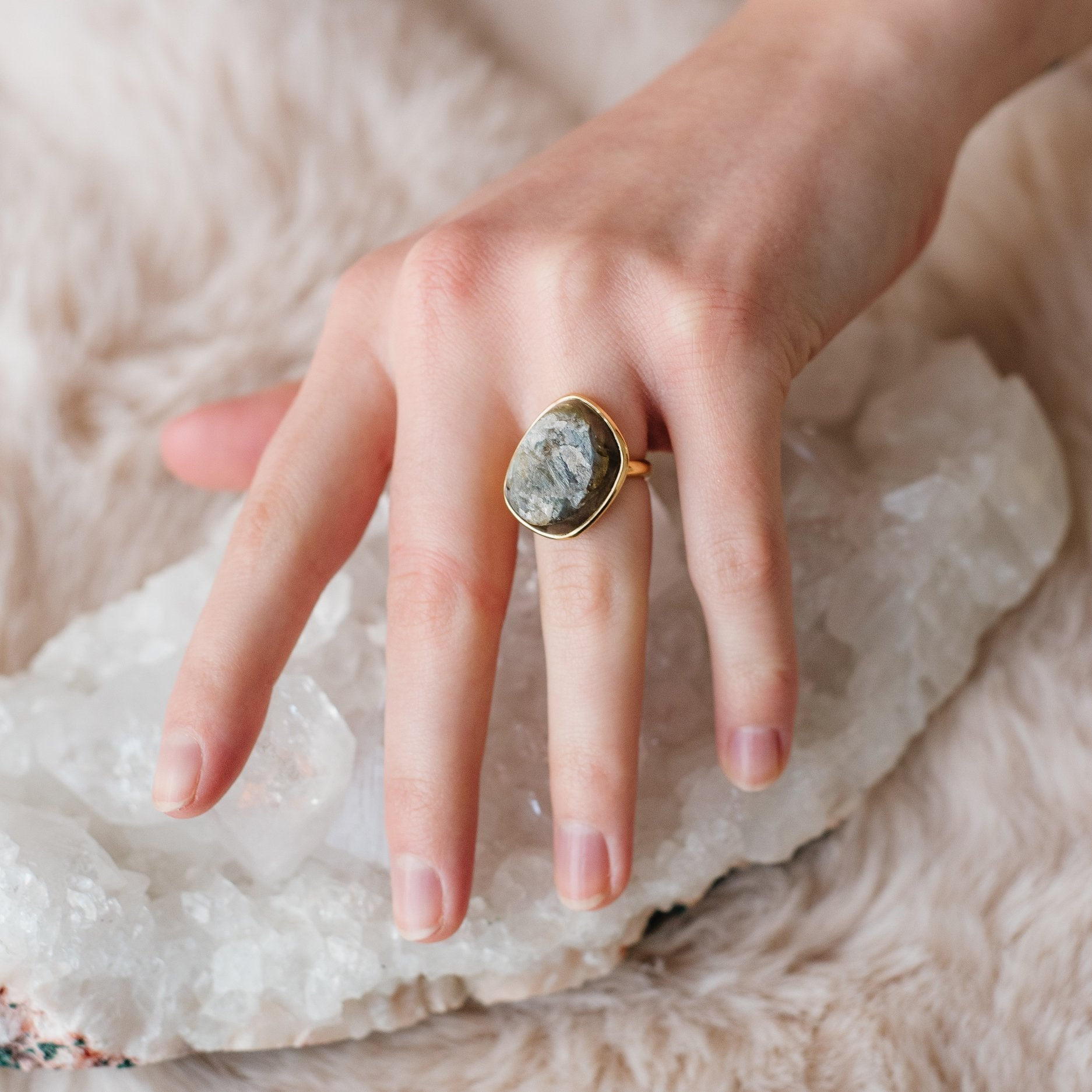 DARING RING - RAW LABRADORITE & GOLD - SO PRETTY CARA COTTER