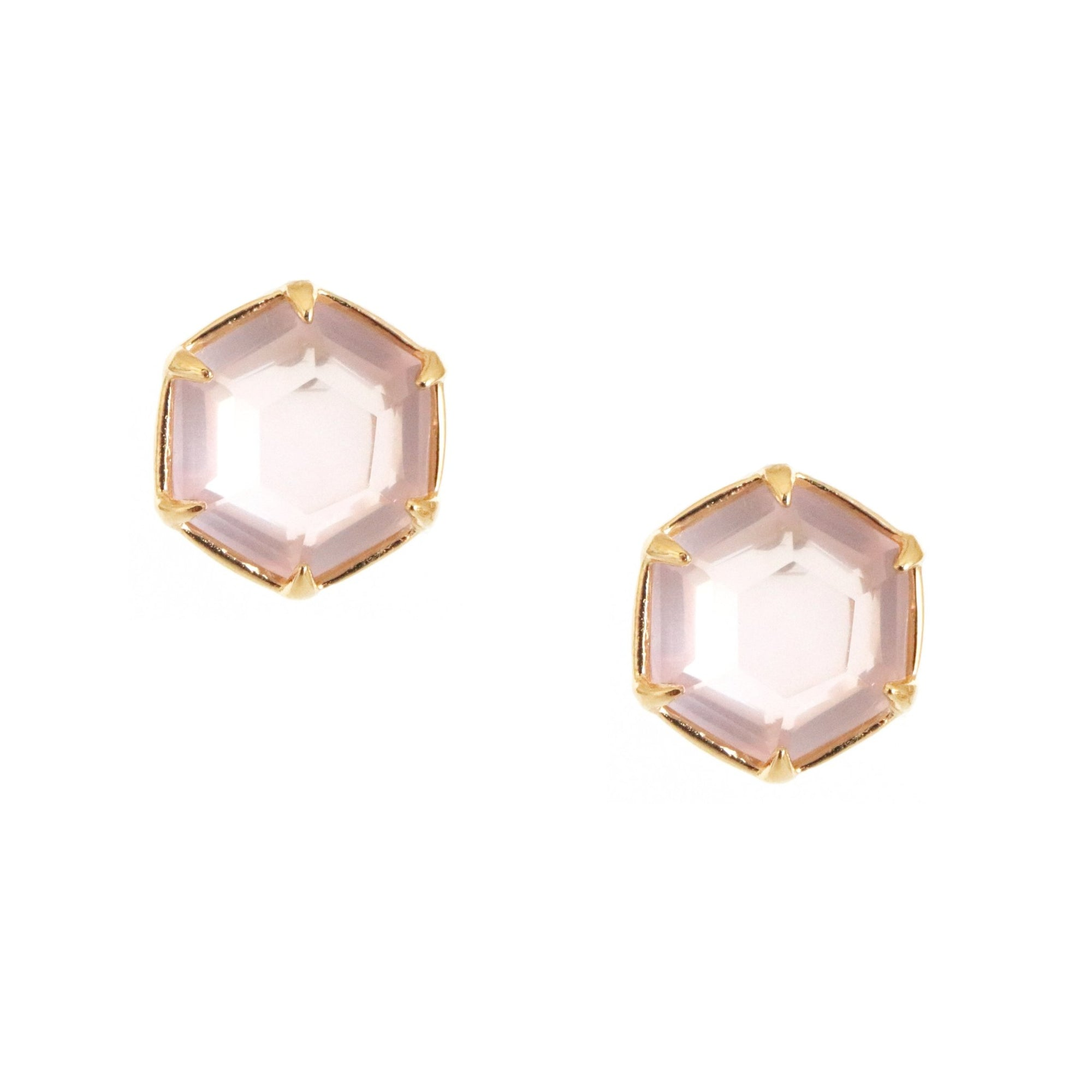 DAY 1 - GRACE HEXAGON STUD EARRINGS - PINK QUARTZ & GOLD - SO PRETTY CARA COTTER