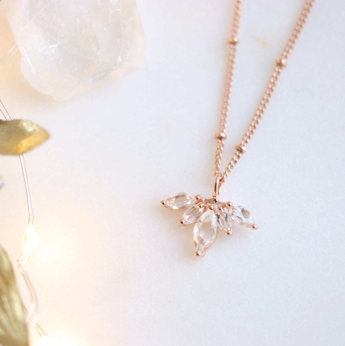 DAY 10 - UNITY CROWN NECKLACE - WHITE TOPAZ & ROSE GOLD - SO PRETTY CARA COTTER