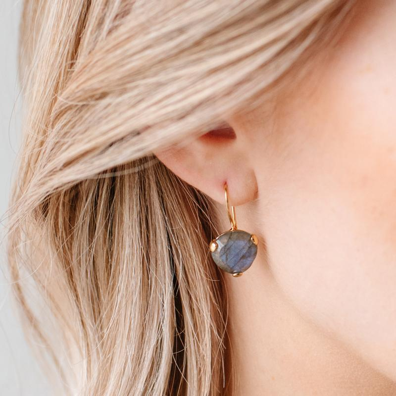 DAY 11 - MINI FEARLESS DROP EARRINGS - LABRADORITE & GOLD - SO PRETTY CARA COTTER