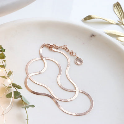 "DAY 12 - CHARMING HERRINGBONE CHAIN 16.5 - 18"" NECKLACE - ROSE GOLD OR SILVER - SO PRETTY CARA COTTER"