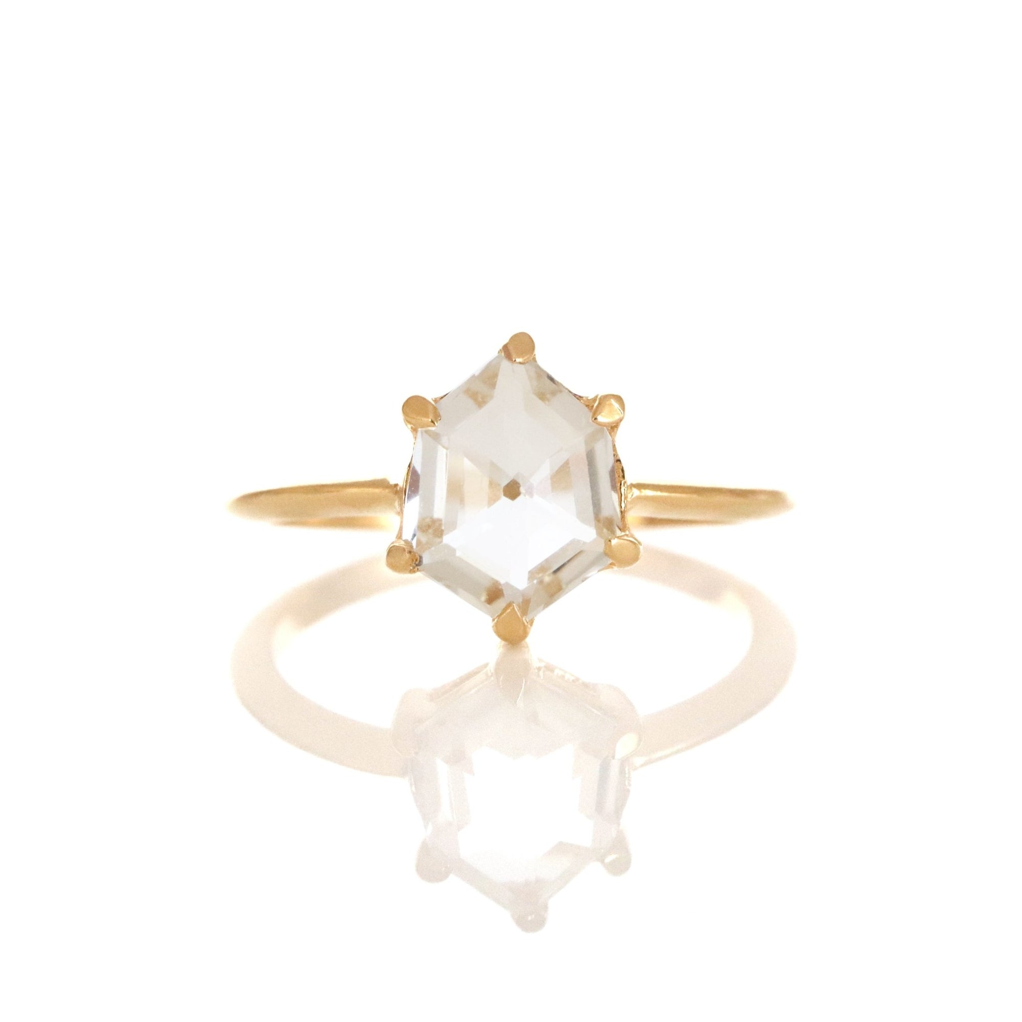 DAY 2 - MINI HONOUR SHIELD RING- WHITE TOPAZ & GOLD - SO PRETTY CARA COTTER