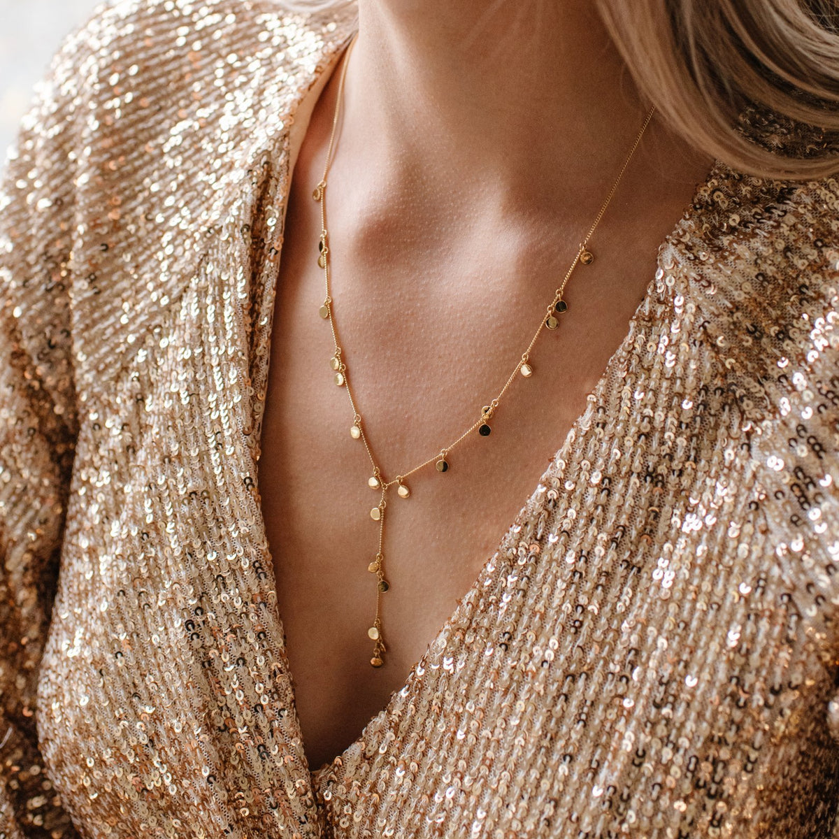 DAY 3 - DAINTY POISE DISK Y NECKLACE - GOLD, ROSE GOLD OR SILVER - SO PRETTY CARA COTTER