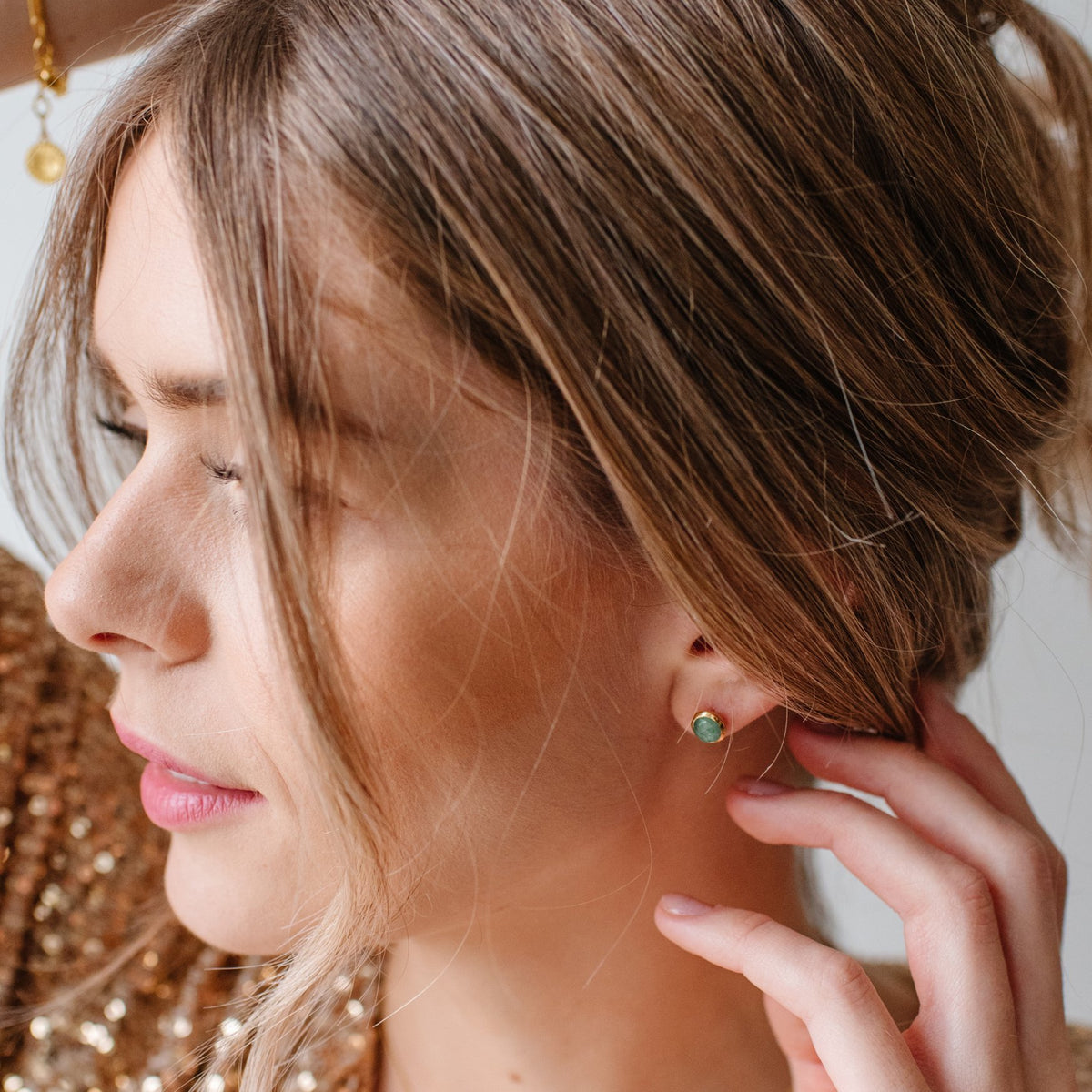 DAY 4 - DAINTY LEGACY STUDS - GREEN QUARTZ & GOLD - SO PRETTY CARA COTTER