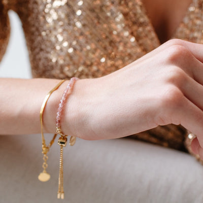 DAY 5 - ICONIC ADJUSTABLE BRACELET - MULBERRY QUARTZ & GOLD - SO PRETTY CARA COTTER