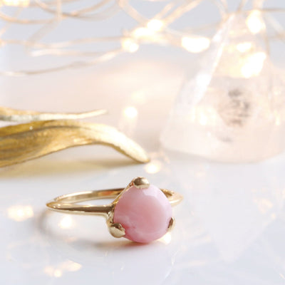 DAY 7 - MINI FEARLESS RING - PINK OPAL & GOLD - SO PRETTY CARA COTTER