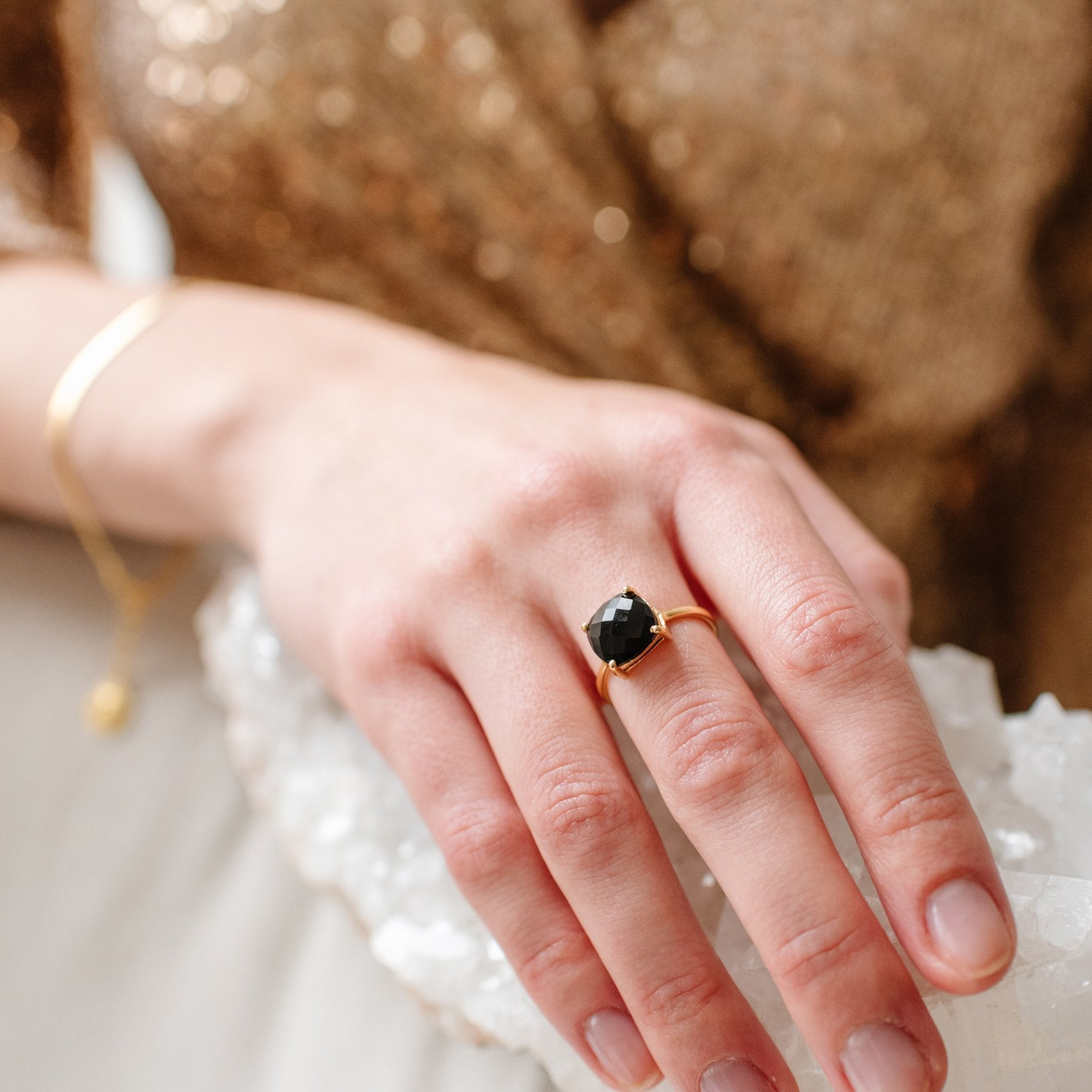 DAY 9 - GLEE RING - BLACK ONYX & GOLD - SO PRETTY CARA COTTER