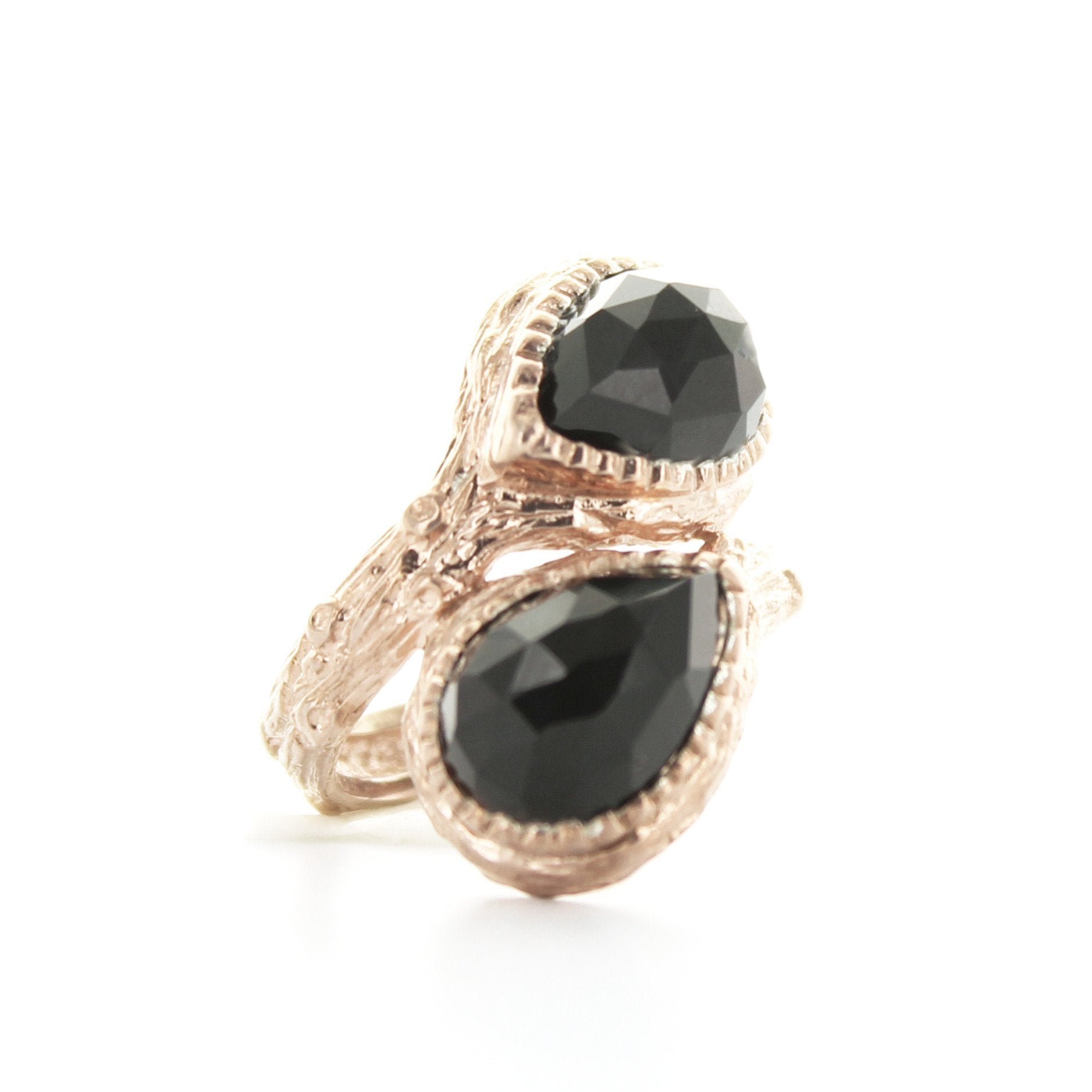 DOUBLE ADORE RING - BLACK ONYX & ROSE GOLD - SO PRETTY CARA COTTER