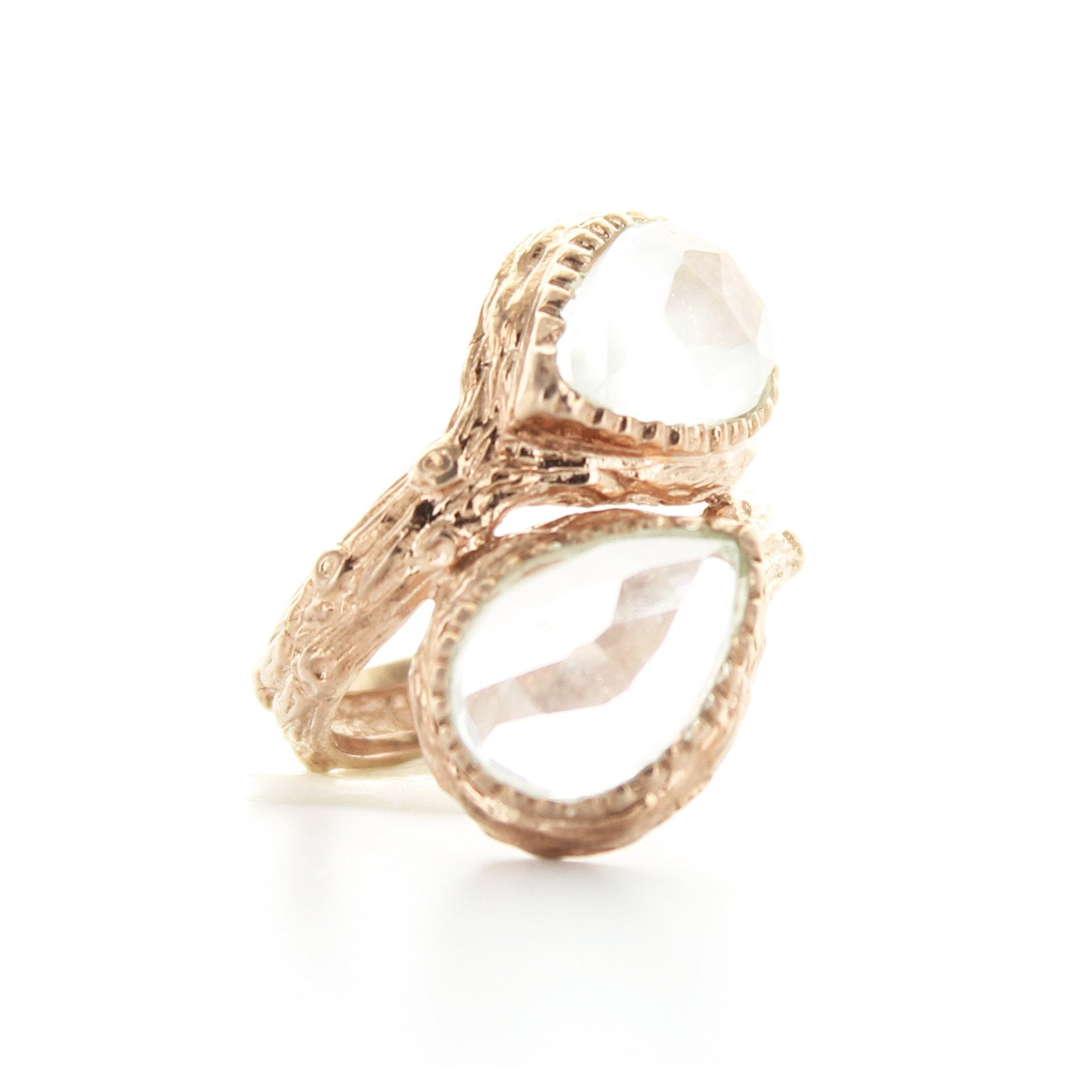 DOUBLE ADORE RING - WHITE TOPAZ & ROSE GOLD - SO PRETTY CARA COTTER