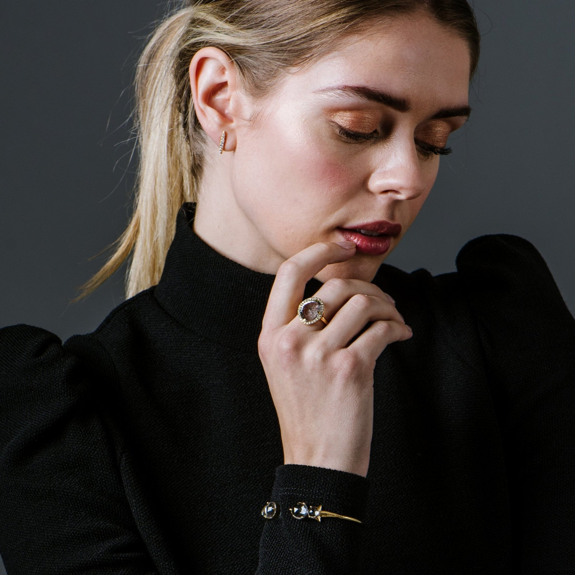 DREAM LUNA COCKTAIL RING - BLACK RUTILE QUARTZ, CUBIC ZIRCONIA & GOLD - SO PRETTY CARA COTTER