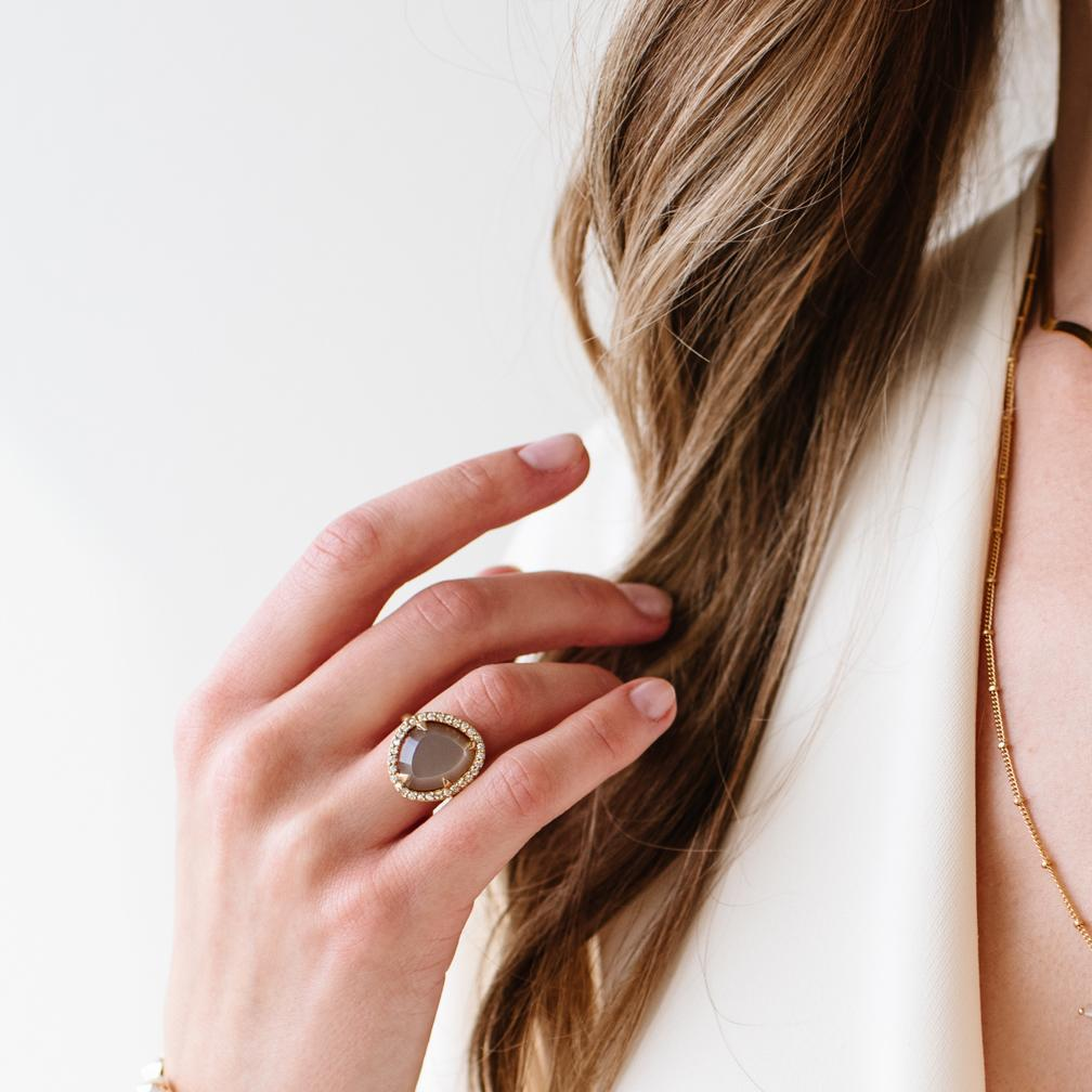 DREAM LUNA COCKTAIL RING - CHAI MOONSTONE, CUBIC ZIRCONIA & GOLD - LIMITED EDITION - SO PRETTY CARA COTTER