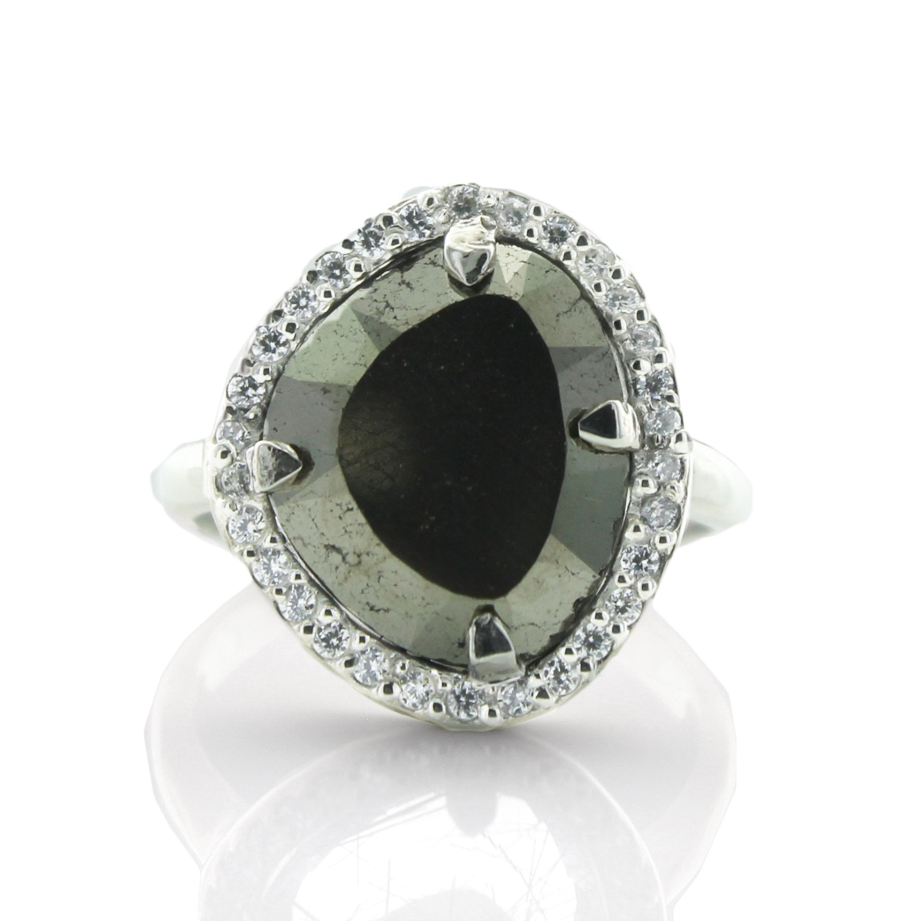 DREAM LUNA COCKTAIL RING - METALLIC PYRITE, CUBIC ZIRCONIA & SILVER - SO PRETTY CARA COTTER