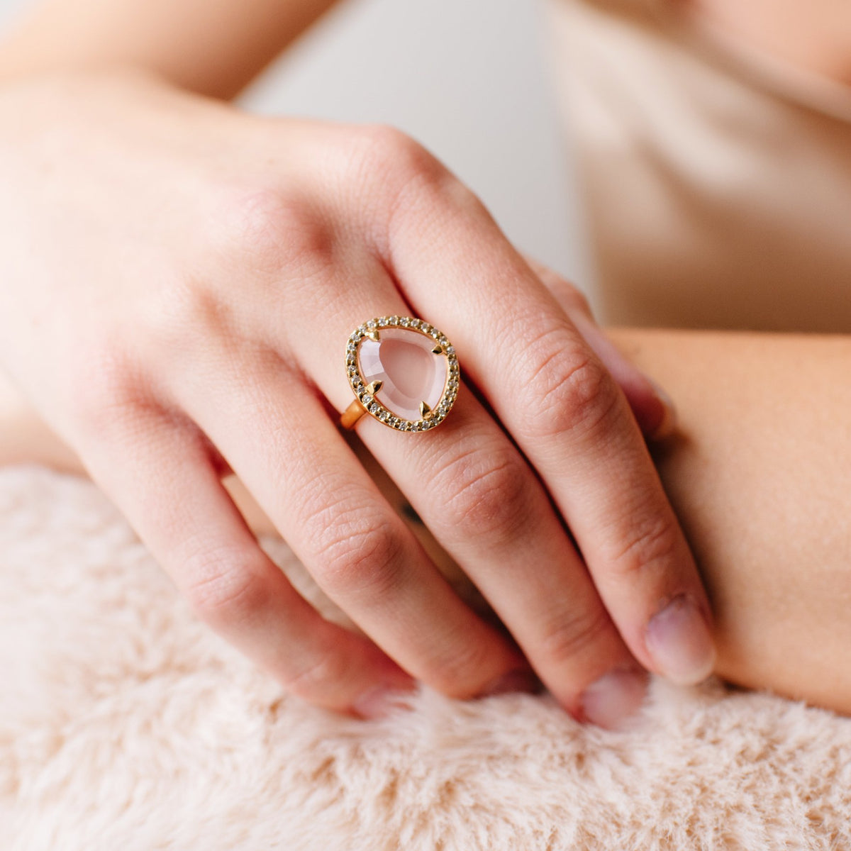 DREAM LUNA COCKTAIL RING - PINK QUARTZ, CUBIC ZIRCONIA & GOLD - SO PRETTY CARA COTTER