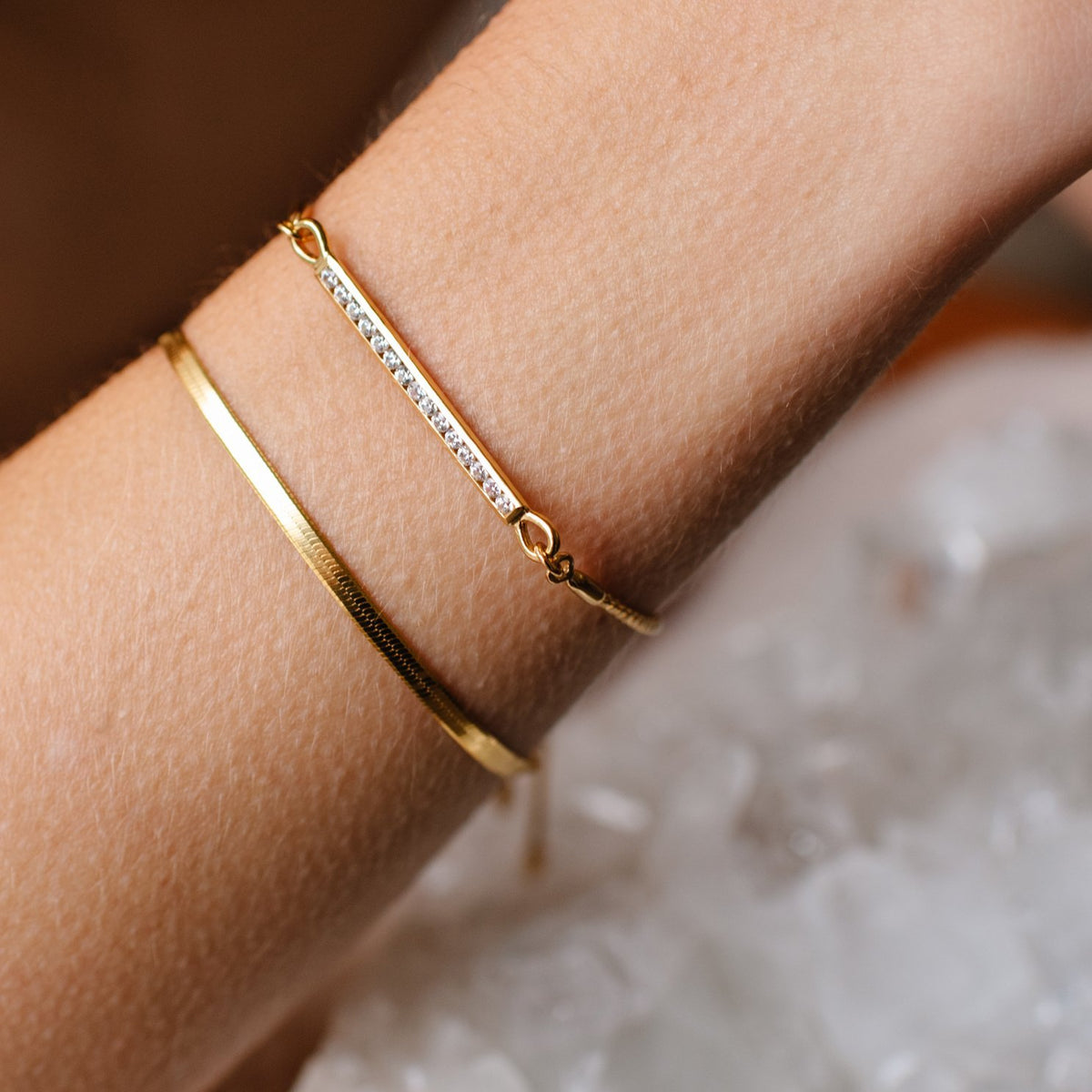 DREAM STARDUST ADJUSTABLE BRACELET - CUBIC ZIRCONIA & GOLD - SO PRETTY CARA COTTER