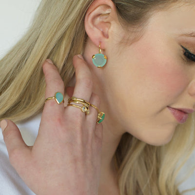 FEARLESS DROP EARRINGS - AQUA CHALCEDONY & GOLD - SO PRETTY CARA COTTER
