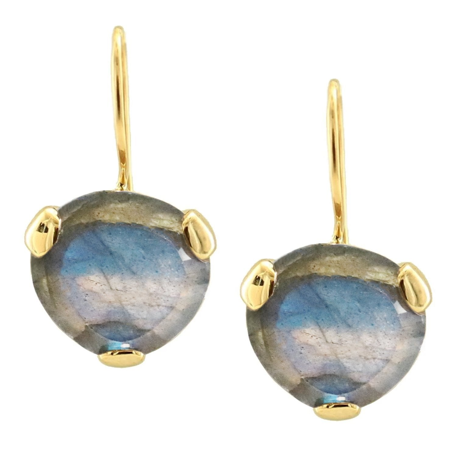 FEARLESS DROP EARRINGS - LABRADORITE & GOLD - SO PRETTY CARA COTTER